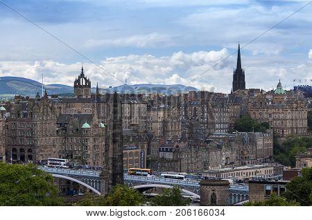 Edinburgh Scotland - August 10 2010: View of the city of Edinburgh in Scotland United Kingdom