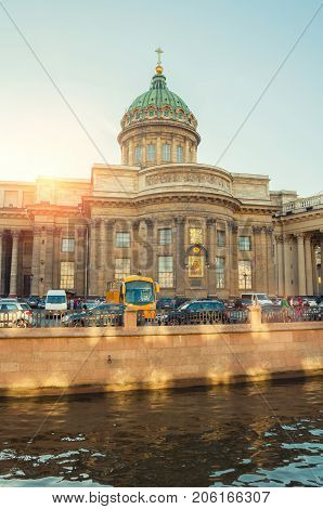 SAINT PETERSBURG RUSSIA - AUGUST 15 2017. Kazan cathedral and Griboedov channel in Saint Petersburg Russia. Architecture view of St Petersburg Russia in sunny summer evening