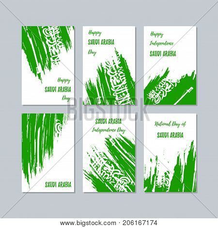 Saudi Arabia Patriotic Cards For National Day. Expressive Brush Stroke In National Flag Colors On Wh