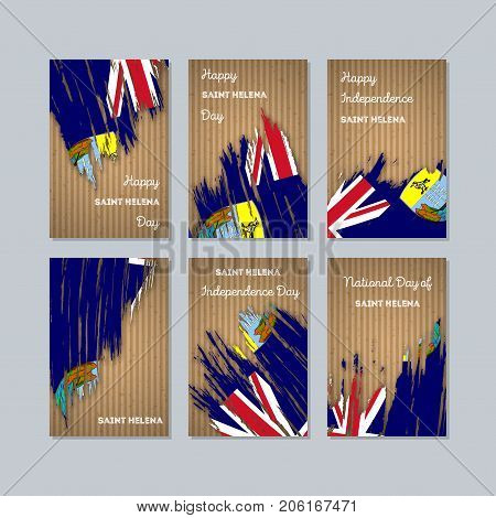 Saint Helena Patriotic Cards For National Day. Expressive Brush Stroke In National Flag Colors On Kr