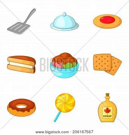Fritter icons set. Cartoon set of 9 fritter vector icons for web isolated on white background
