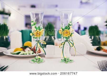 Table set for wedding or another catered event in green color