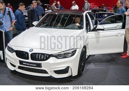 Frankfurt-September 20: BMW M3 Limousine at the Frankfurt International Motor Show on September 20 2017 in Frankfurt