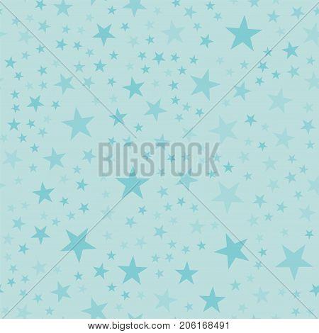 Turquoise Stars Seamless Pattern On Light Blue Background. Terrific Endless Random Scattered Turquoi