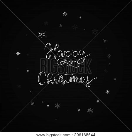Happy Christmas Greeting Card. Sparse Snowfall Background. Sparse Snowfall On Red Background.great V