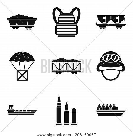 Combative icons set. Simple set of 9 combative vector icons for web isolated on white background