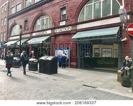 LONDON - SEPTEMBER 19, 2017: Covent Garden London Underground Tube Station street entrance in London, UK.