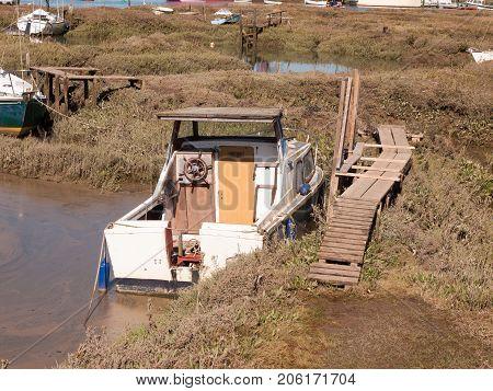 Boat Close Up Parked In Estuary Marshland Tollesbury Maldon