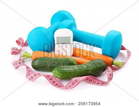 Composition with digital glucometer, fresh vegetables and dumbbells on white background. Diabetes concept
