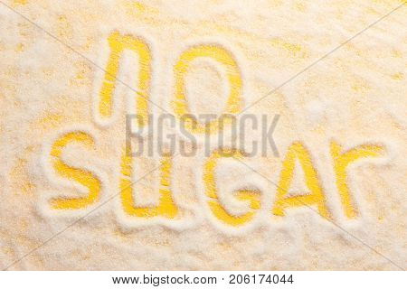 Composition with words No Sugar on color background. Diabetes concept