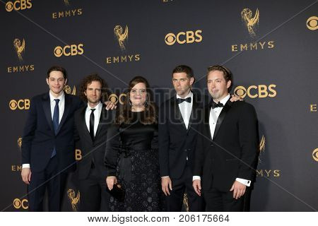 LOS ANGELES - SEP 17:  Pete Davidson, Kyle Mooney, Aidy Bryant, Mikey Day, Beck Bennett at the 69th Primetime Emmy Awards - Arrivals at the Microsoft Theater on September 17, 2017 in Los Angeles, CA