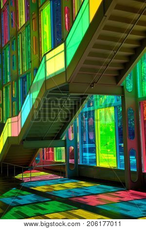 MONTREAL, CANADA - September 14, 2017: Colourful glass panels and stairs in Palais des congress de Montreal (Montreal Convention and Conference Centre)  Montreal, Canada