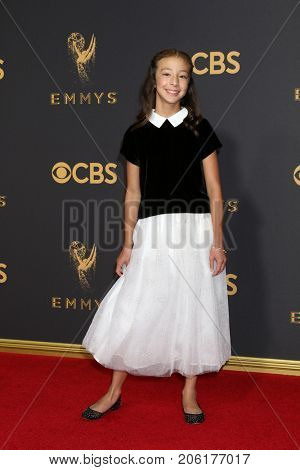 LOS ANGELES - SEP 17:  Aubrey Anderson Emmons at the 69th Primetime Emmy Awards - Arrivals at the Microsoft Theater on September 17, 2017 in Los Angeles, CA