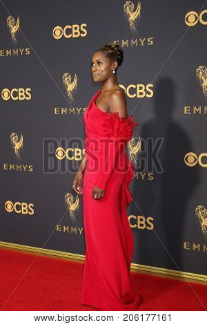 LOS ANGELES - SEP 17:  Issa Rae at the 69th Primetime Emmy Awards - Arrivals at the Microsoft Theater on September 17, 2017 in Los Angeles, CA