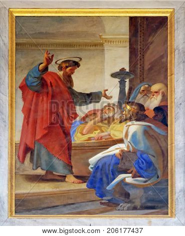 ROME, ITALY - SEPTEMBER 05: The fresco with the image of the life of St. Paul: Paul Agrees to Take the Nazirites to the Temple, basilica of Saint Paul Outside the Walls, Rome on September 05, 2016.