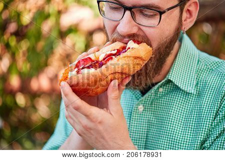 Handsome man with beard eating juicy hotdog with ketchup and majo on the street. Close-up of fast food. Food concept.