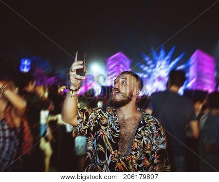 Man Using Mobile Capture Shoot Live Music Concert Festival
