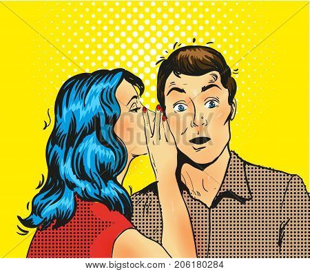 Man and woman whisper pop art vector illustration stock
