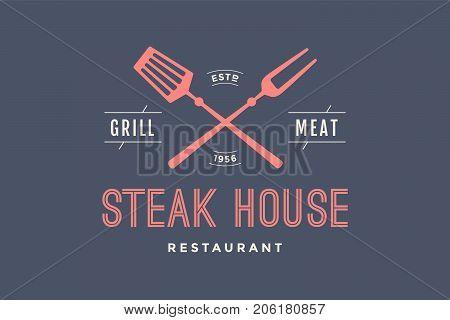Logo of Steak House restaurant with grill symbols text Steak House Grill Meat Restaurant. Logo graphic template for meat business or design - menu poster banner label. Vector Illustration