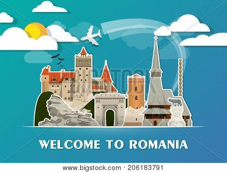 Romania Landmark Global Travel And Journey Paper Background. Vector Design Template.used For Your Ad