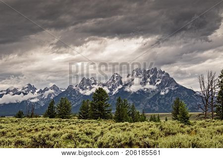 Storm clouds over the Grand Tetons Range