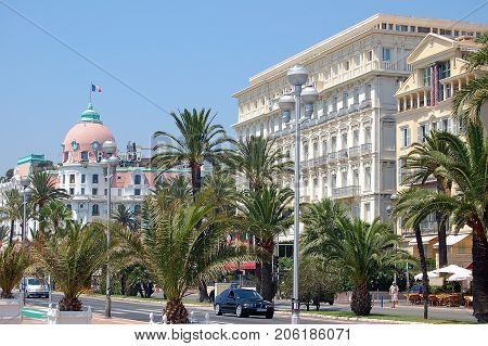 Hotel Negresco and Hotel West End on the Promenade des Anglais - Nice, France, 20 July 2007