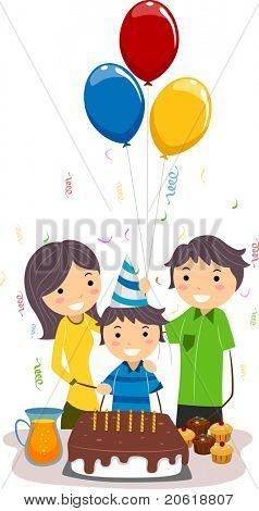 Abbildung eines Knaben feiert seinen Geburtstag mit seiner Familie
