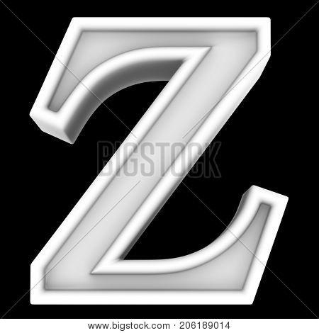 3d rendering. White letter Z. Isolated on black.