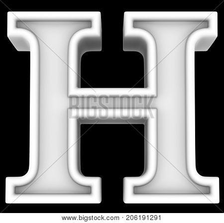3d rendering. White letter H. Isolated on black.
