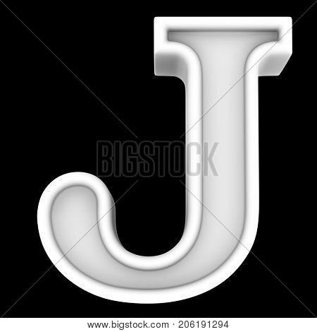 3d rendering. White letter J. Isolated on black.