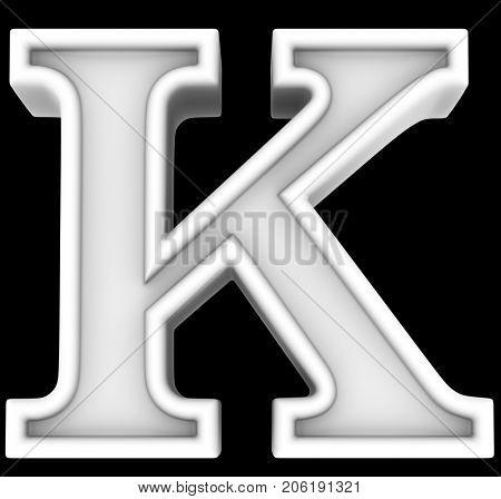3d rendering. White letter K. Isolated on black.