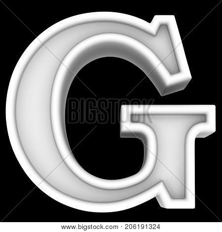 3d rendering. White letter G. Isolated on black.