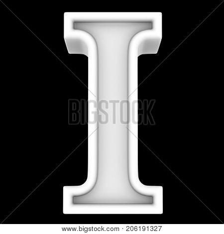 3d rendering. White letter I. Isolated on black.