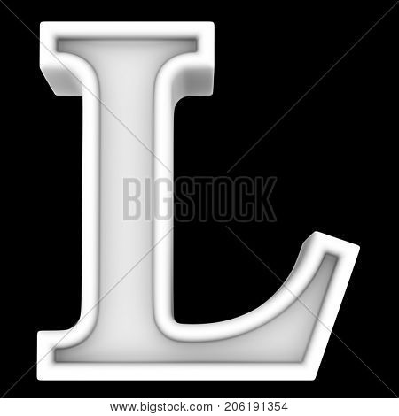 3d rendering. White letter L. Isolated on black.