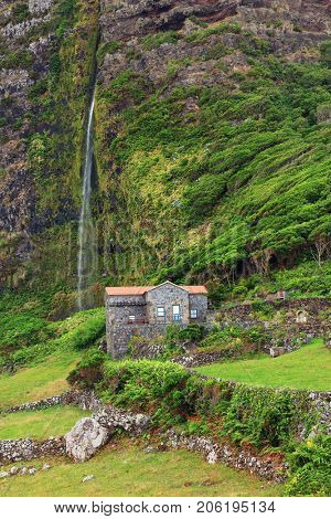 Idyllic landscape on Flores Island, Azores, Portugal, Europe
