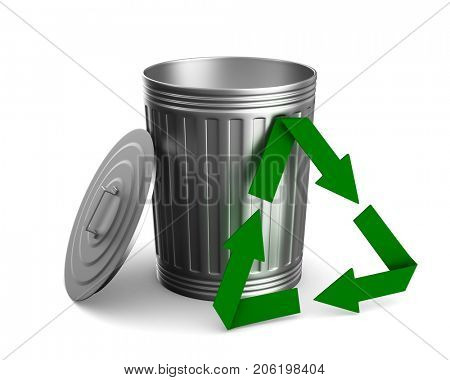 Garbage basket on white background. Isolated 3D illustration