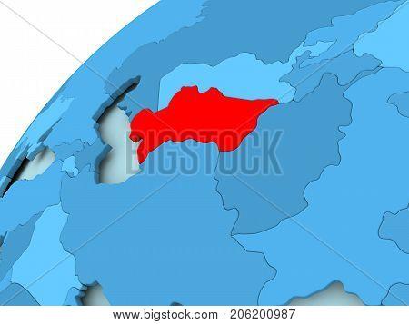 Turkmenistan On Blue Globe