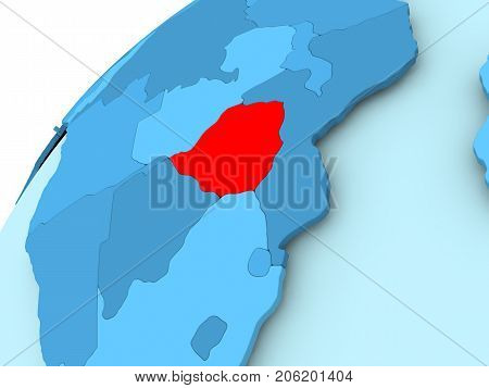 Zimbabwe On Blue Globe