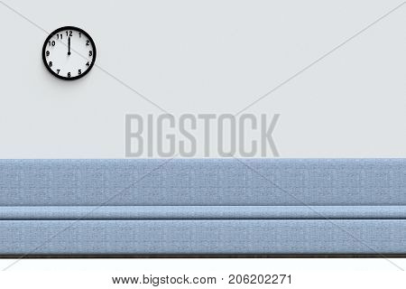3d rendering. Blue fiber seat and clock at noon time at the copy space gray wall background.