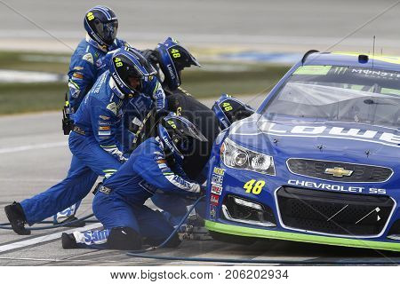 September 17, 2017 - Joliet, Illinois, USA: Jimmie Johnson (48) brings his car down pit road for service during the Tales of the Turtles 400 at Chicagoland Speedway in Joliet, Illinois.