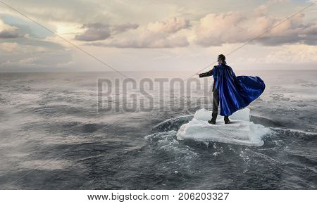 Surfing sea on ice floe. Mixed media