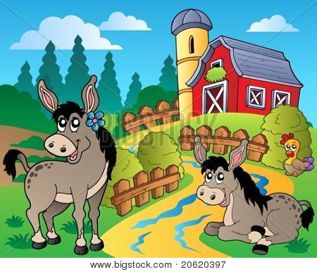 Country scene with red barn 8 - vector illustration.
