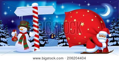 Santa Claus carrying a big red sack, snowman and wooden sign against the the night winter forest. Easy to insert on a classic mug. Christmas and New Year  greeting card
