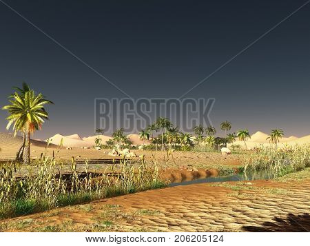 African desert with lavish and vibrant plant life 3d rendering