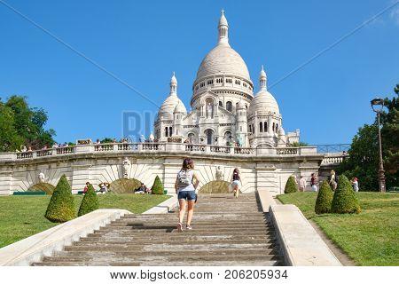 PARIS,FRANCE - AUGUST 4,2017 : The Sacre Coeur Basilica in Montmartre, Paris