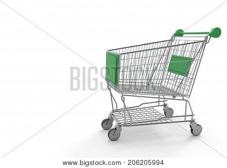 3d rendering. empty green label metal cart on white background. Eco shopping cart concept