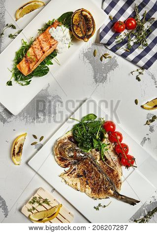Gourmet Restaurant Grill Fish Menu - Salmon Steak and Grill Dorado. Top View