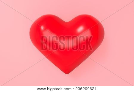 3d rednering. One red heart on pink background