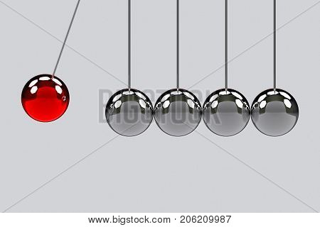3d rendering. before hitting of red pendulum ball to another pendulum group. One force effect to all concept