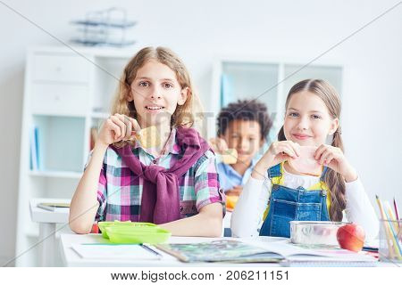 Schoolboy with cracker and his classmate with sandwich having lunch break after lesson